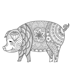 Pig coloring book vector