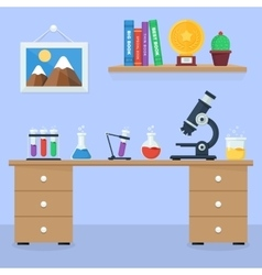 Laboratory workspace and workplace concept vector