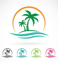 Image of an palm tropical tree icon vector