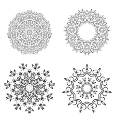 Round geometric ornaments set on white background vector