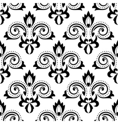 Abstract black floral seamless pattern vector image vector image