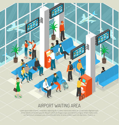 Airport waiting area isometric vector