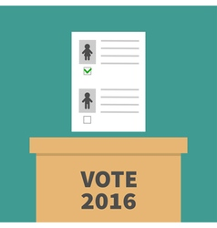 Ballot Voting box with paper blank bulletin Man vector image