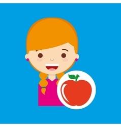 Beatiful girl blonde student apple vector