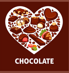 chocolate candy and comfit heart poster vector image