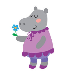 cute cartoon hippopotamus vector image
