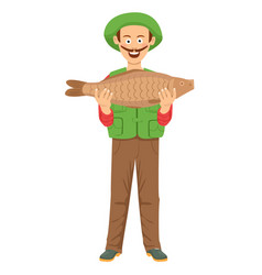 cute fishman with mustache holding a big fish vector image