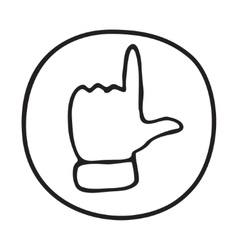 Doodle pointing finger icon vector