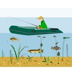 Fisherman fishing in a boat flat concept vector image