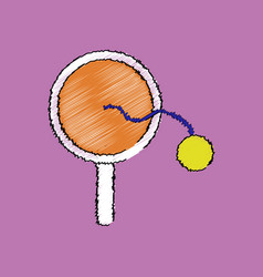Flat shading style icon kids racket and ball vector