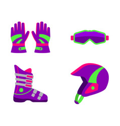 flat style skiing snowboarding equipment vector image