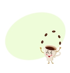 Funny energetic espresso cup character juggling vector