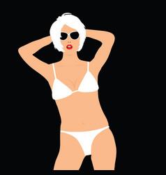 girl blonde in white bikini pose vector image vector image
