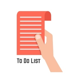 Hand holding red to do list vector
