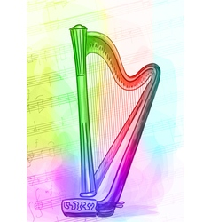 Harp iridescen colours vector