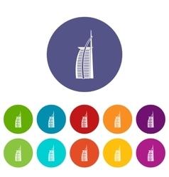 Hotel Burj Al Arab set icons vector image vector image