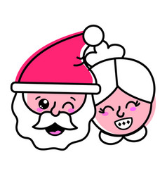 Isolated santa and wife design vector
