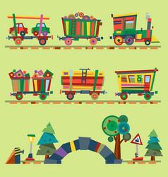 Kid train railroad baby cartoon toy or vector