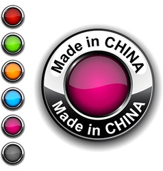 Made in China button vector image vector image