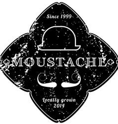 Moustache vintage black emblem retro grunge vector