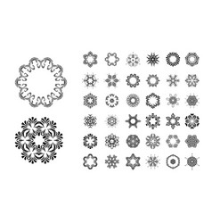 round ornament pattern set vector image vector image