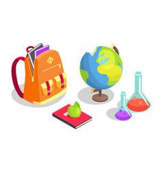School backpack full of books chemical flasks vector