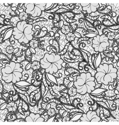 Seamless lace pattern Black openwork flowers and vector image