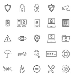 Security line icons on white background vector image
