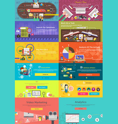 Set of banner concept pay per click business plan vector