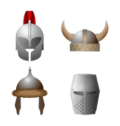 Set of medieval viking knight horned coppergate vector