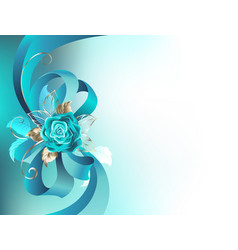 Silk bow with a turquoise rose vector
