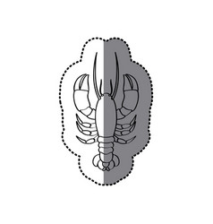 Sticker monochrome line contour with lobster vector