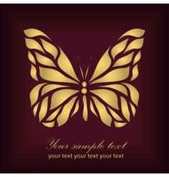 Vintage gold beautiful butterfly vector