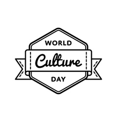 World culture day greeting emblem vector