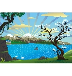 Landscape-cherry blossoms above the lake vector