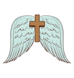Cross wing angel holy icon vector