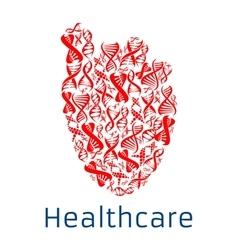 Healthcare red heart symbol of dna helix vector