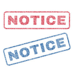 Notice textile stamps vector