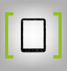 Computer tablet sign  black scribble icon vector