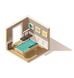 Isometric low poly pool room vector