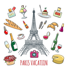 French country vacation doodle elements vector