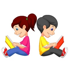 Cartoon boy and girl reading book vector
