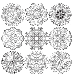 Set of round lacy ornaments vector