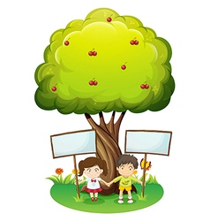 Kids under the tree with empty signboards vector