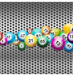 Bingo Balls on silver metallic mesh vector image