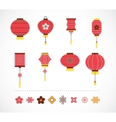Set of chinese red lanterns and elements vector
