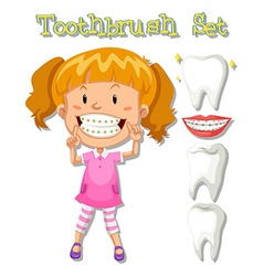 Little girl and toothbrush set vector
