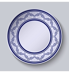 Plate with blue ornamental border template design vector