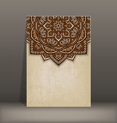 Old paper card with brown floral circular pattern vector