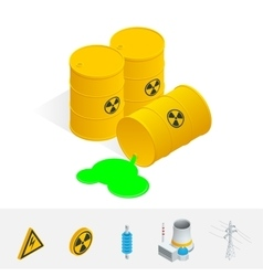 Debris atomic energy danger radiation flat 3d vector
